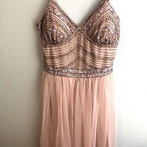 Sequined Light Pink Formal Dress
